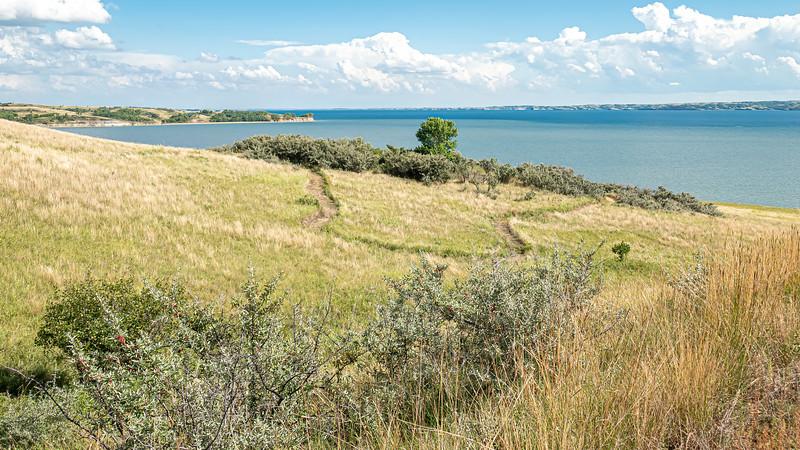 Bright Summer Skies on a Warm Summer Day, Nux Baa Ga Trail, Indian Hills, North Dakota