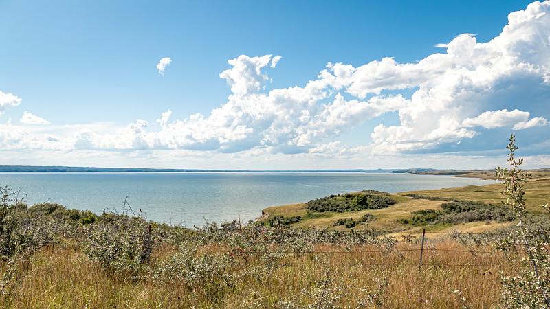 Looking Across Lake Sakakawea, where the Missouri River and Elbowoods Used to Be