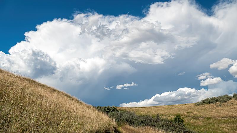 Beyond the Hills, Skies Darken as Storm Clouds Build, Indian Hills, North Dakota