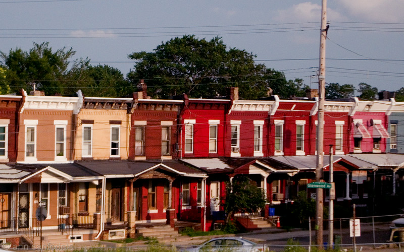 Row Houses from the train - a few miles north of the city