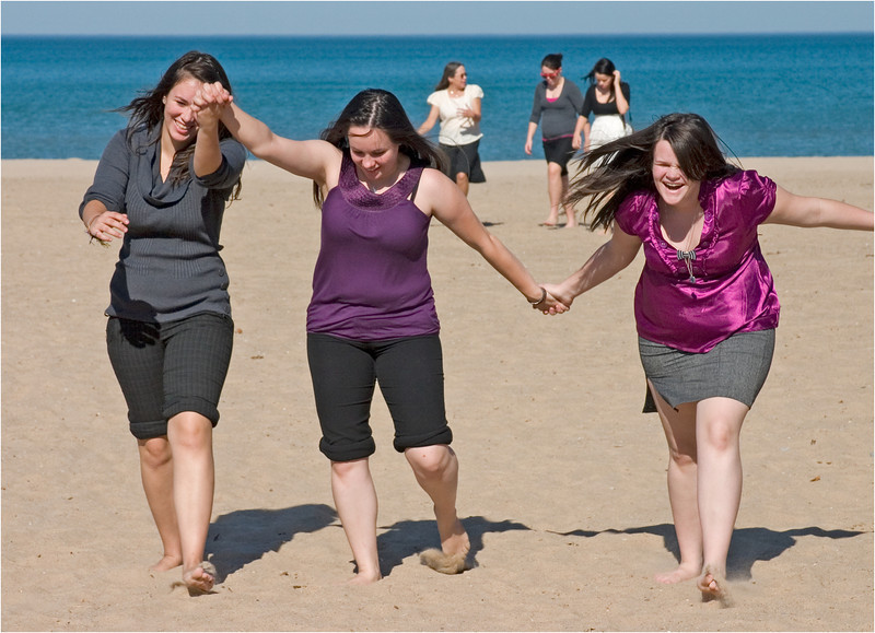 On the beach at Gillson Park - Three of my friend Barb's granddaughters