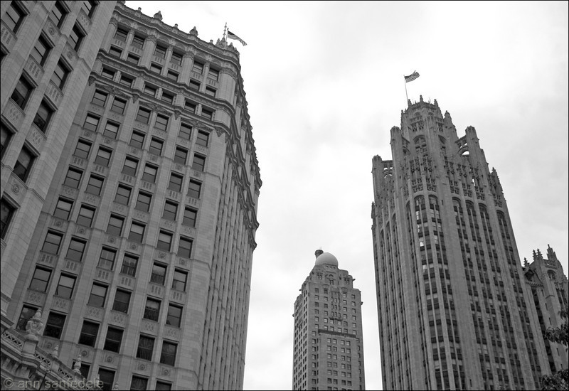 The Wrigley Building, The Inter-continental Hotel, Tribune Towers. On Michgan Avenue.  The hotel was once a Shriner's Building - the Medina Athletic Club. This shot could have been taken 70 years ago. May 8th