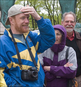 "Mark ""Full Frame"" Roberts , Doc Lisa , Stan in background - outside the Art Institute The morning of May 8th. (The camera is the reason for the wise ass ""full frame"" nickname.)"