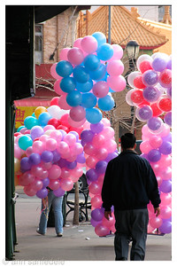 Walking Balloons in Chinatown