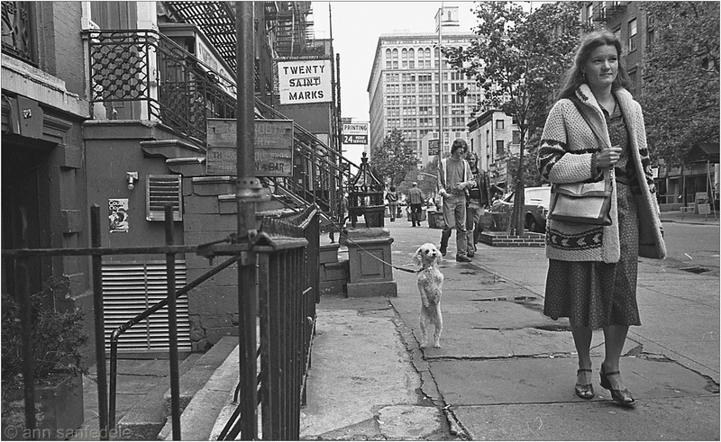 St. Marks Place, October 1978 looking west between 2nd and 3rd ave, in front of the Grassroots Tavern,<br /> which is still there and operating.  Little else on the street is