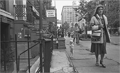 St. Marks Place, October 1978 looking west between 2nd and 3rd ave, in front of the Grassroots Tavern, which is still there and operating.  Little else on the street is