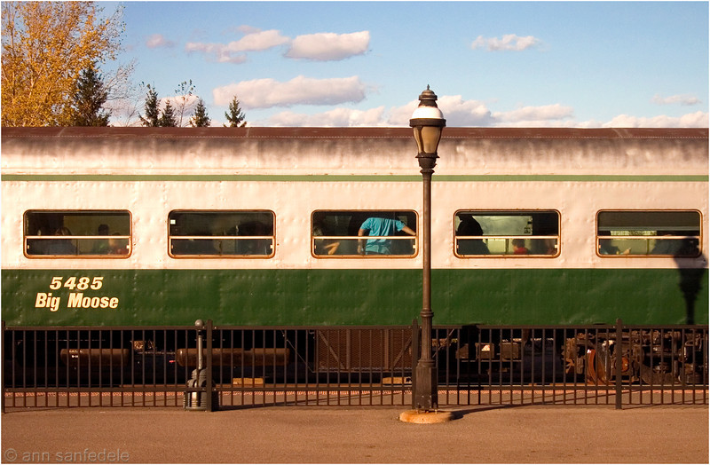 Big Moose - train car  - from the window of the train I was in.  Taken at the Utica station.  I think this old car was a section of a<br /> train that may go to Big Moose Lake in the Adirondacks.