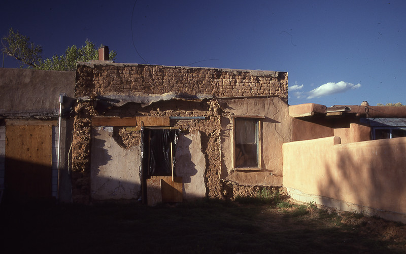 Building in Taos shows the nature of adobe brick construction..