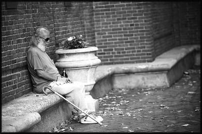 Sleeping, Paul Revere Park, North End, Boston