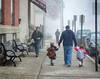 In downtown Naugatuck, on a very foggy day, I spied these kids being dropped off at day care.