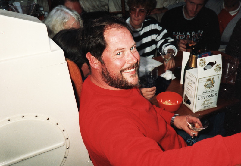 Brian Dandridge celebrating his 39th birthday on board Penrose II