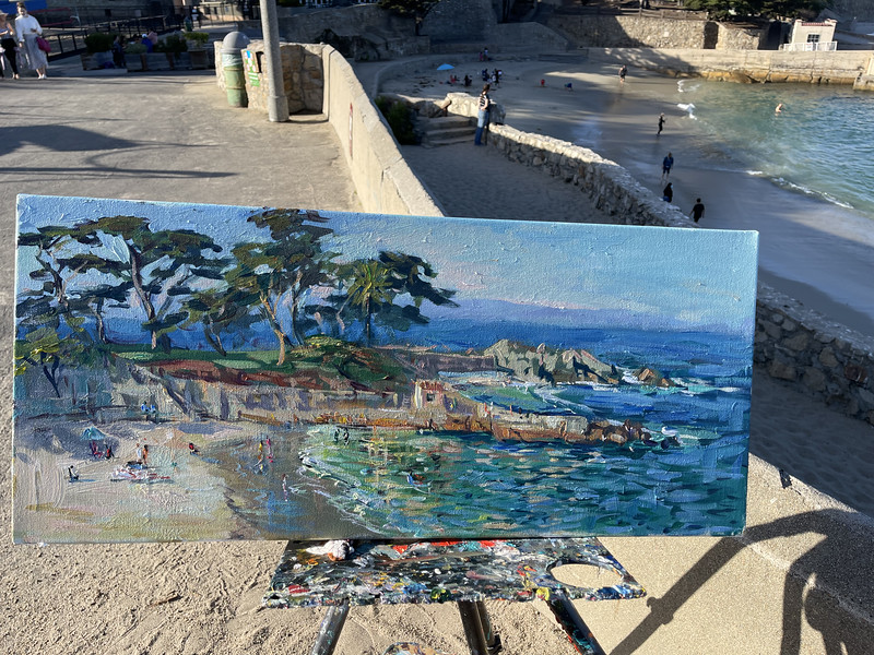 Beauiful late afternoon painting plein air, fun in the sun at Lover point Beach.