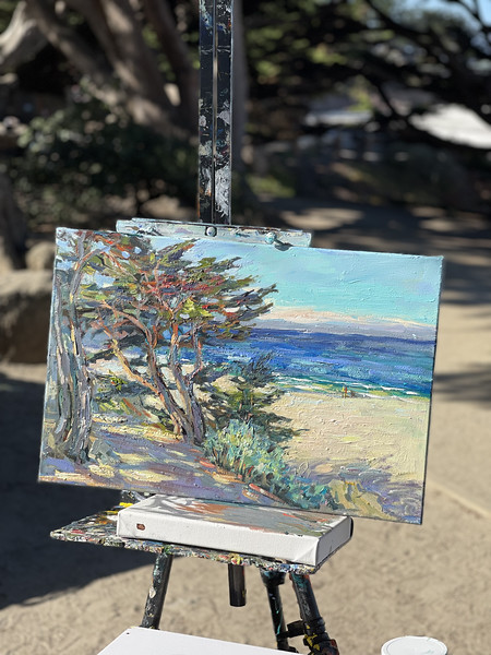 Took my plein air out again, it need more color and life. Carmel Cypress 16x24
