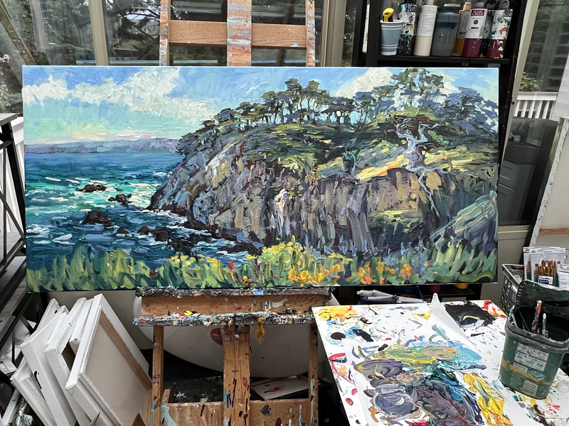 On the easel 28x60 old veterans point Lobos, Not done back at it tomorrow