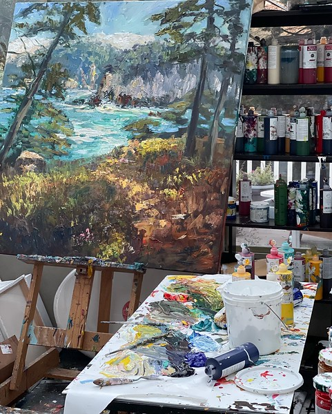 Working in my studio 50x48 Pt lobos.   I am not done back at it tomorrow.