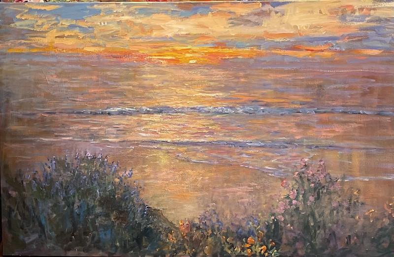 On the easel 38 x 60 Carmel Beach Sunset sold