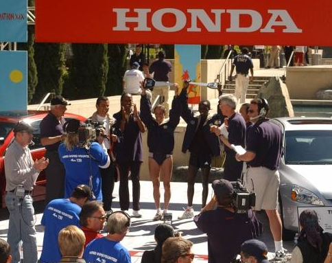 Urban Runoff: On the awards podium for NBC with the men's and women's winners of the 2004 Los Angles Marathon.<br /> <br /> Photo credit: Unknown
