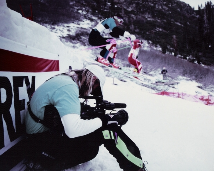 One of the few times you will ever catch me sitting on my butt while on the job. Shooting the US Pro Ski Tour at Beaver Creek, Colorado for ABC Sports.<br /> <br /> Photo Credit: Lisa Mutz-Nelson