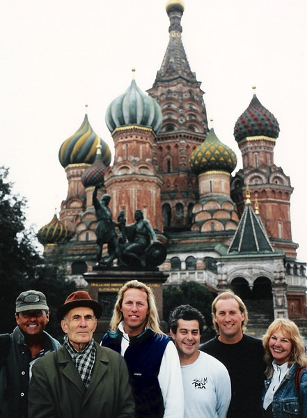 Taking a moment to be tourists during a day of shooting in Moscow.<br /> <br /> St. Basil's Cathederal, Red Square.<br /> <br /> L-R: David Stanfield, Sam (our local guide), myself, Drop-Dead Ted, Henry Boger, and Jan Davis.<br /> <br /> Photo credit: Tom Sanders