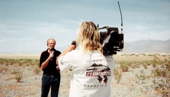 Working all day under the hot sun in Death Valley may not sound like fun, unless of course I'm working with Dave Despain on another Bike Week segment.<br /> <br /> Photo credit: Chris Bond