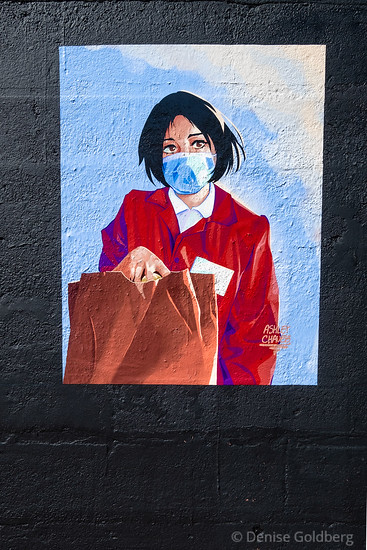 mural, woman in a mask