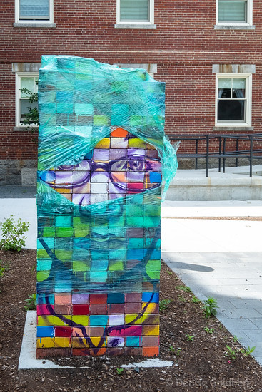 mural on stacked bricks, Salem, MA