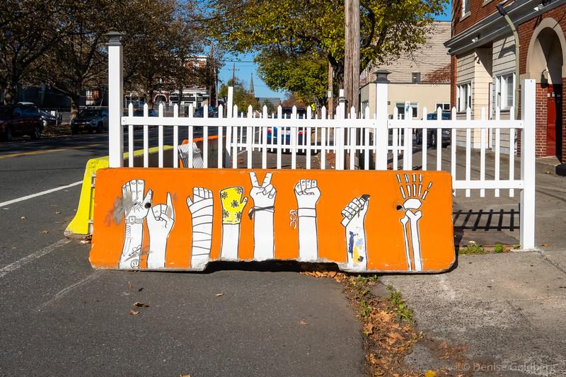 painted barrier, Salem, MA