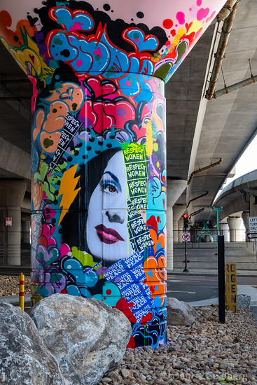 mural on bridge support, created by Soraya Marquez (Indie184)
