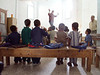 (Oct. 7, 2003 Tayiba, Egypt) --  The teacher from the Tayiba school leads the kids in a song.  The school give the kids a better hope for tomorrow. <br /> Photo: Michael Rieger<br /> 720-331-6402