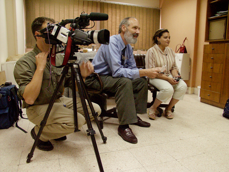 (Oct 2003 Cairo, Egypt)  -- Bob Lugwig, President of Hands Along the Nile, interviews member of CEOSS about their work in Egypt and the imaportaince of creating dialuge with the west.<br /> Photo: Michael Rieger