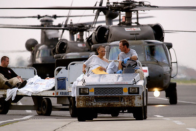 (September 1, 2005 New Orleans) -- Evacuees and hospital patients arrive at New Orleans airport where FEMA's D-MATs have set up operations. <br /> Photo: Michael Rieger/FEMA