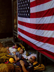 9-18-2001 NY,NY FDNY grab a few hours sleep before returning to WTC.