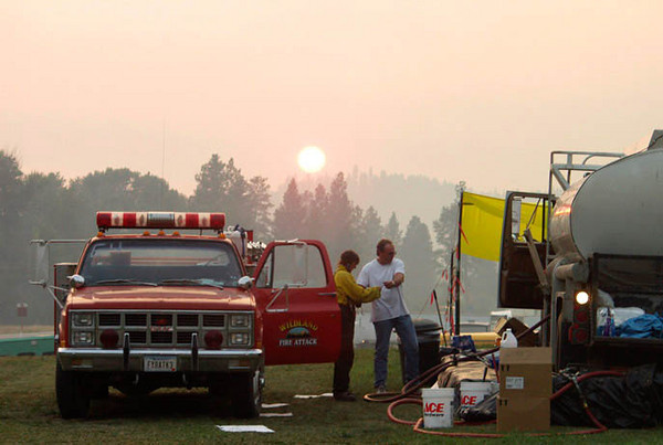 (August 18, 2003 Missoula, MT) -- Fire camp for the North Howard complex.<br /> Photo: Michael Rieger/FEMA