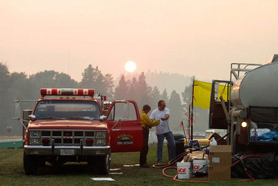 (August 18, 2003 Missoula, MT) -- Fire camp for the North Howard complex. Photo: Michael Rieger/FEMA