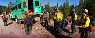 (8-25-2003 Missoula, MT)  --  Helishot crews on the Black Mountain fire.<br /> Photo:  Michael Rieger/FEMA