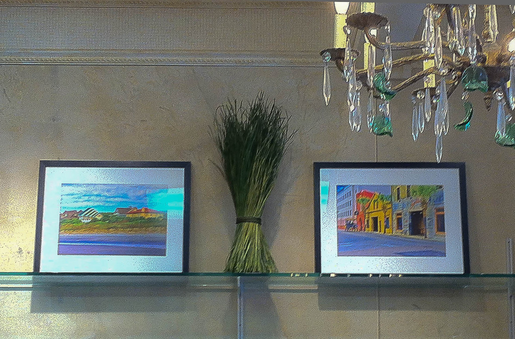 "IPhone photo of ""Summer Retreat"" and Hank's on Hayne"" on display at Williams Next Door in Evanston, IL."
