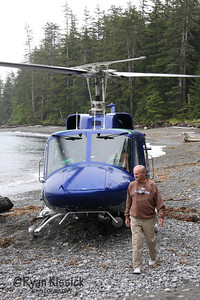My 91-year-old grandfather arriving in the Queen Charlotte Islands after a helicopter landing on the Graham Island shoreline