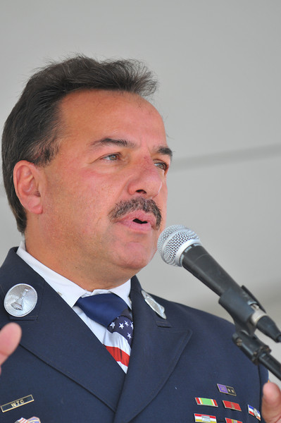 Joe Torrillo, 9/11 World Trade Center hero and survivor, inspires the crowd at the 2008 San Miguel Fire Expo