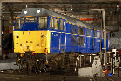 31407 stands on the turntable inside the roundhouse at Barrow Hill TMD on 12/02/2006.