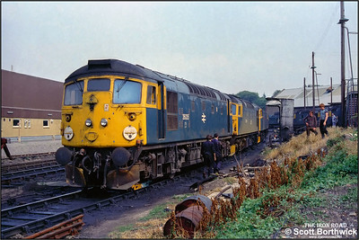 26035 stands on the fuelling road at Inverness TMD on 26/07/1983 after being hauled from Achnasheen on a wheelskate the day after suffering a hot box whilst working to Kyle of Lochalsh.