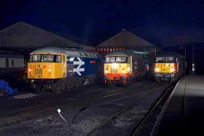 Believed to be the first time that three Grids have been lined up alongside each other in preservation. 56057, 56098 & 56003 stand on Wansford TMD on 24/02/2007.