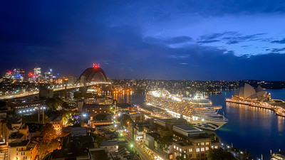 Hotel room view of Sydney Harbour