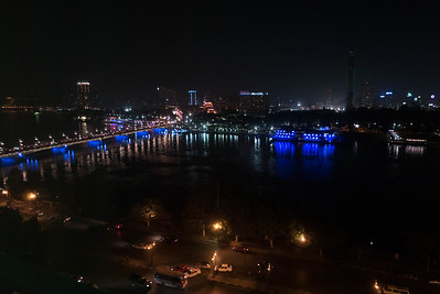 Cairo and Nile lit up at night