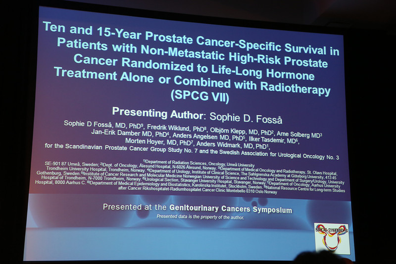 """San Francisco, CA -GU Cancers Symposium 2014: Sophie D. Fossa, MD, PhD, Professor discusses abstract #4 """"Ten- and 15-year prostate cancer-specific survival in patients with nonmetastatic high-risk prostate cancer randomized to lifelong hormone treatment alone or combined with radiotherapy (SPCG VII)"""" during the Oral Abstract Session A: Prostate Cancer at the 2014 Genitourinary Cancers Symposium here today, Thursday January 30, 2014. Over 3,100 physicians, researchers, patient advocates and healthcare professionals from over 50 countries attended the meeting which features the latest research on genitourinary cancer treatment and prevention. Photo by © ASCO/Todd Buchanan 2014 Technical Questions: todd@medmeetingimages.com"""