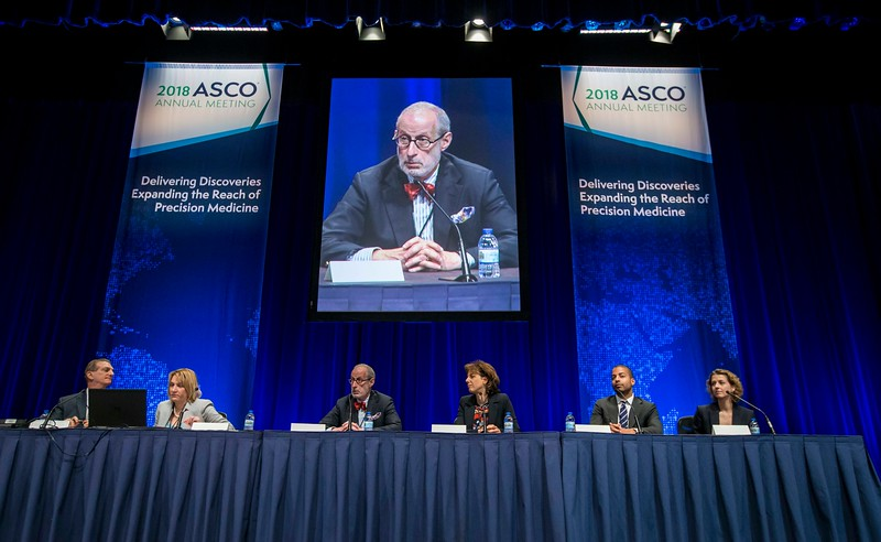 A panel discusses Abstract 9502  during Melanoma/Skin Cancers Oral Abstract Session