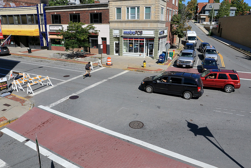 The City of Fitchburg has been working to make Main Street a one lane road down from two lanes. Early Thursday morning it became one lane. The one lane starts just after the intersections of Cushing & Blossom streets with Main Street as seen here. SENTINEL & ENTERPRISE/JOHN LOVE
