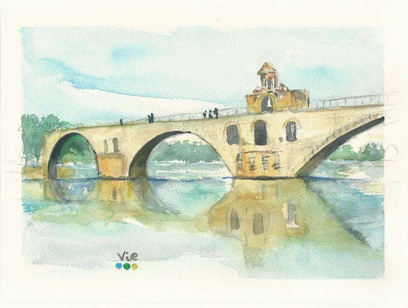 No 215 Le pont d'Avignon sous le soleil  du midi