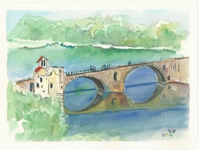 No 213 Le pont d'Avignon vu de la montagne