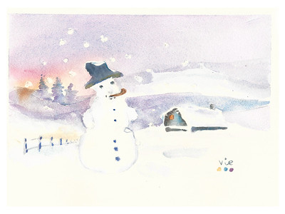 No 362 Un grand bonhomme de neige poursuivi par le froid