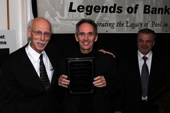Grady Mathews and Billy Incardona flank 'Lifetime Pool in Action' honoree, 'Hippie' Jimmy Reid